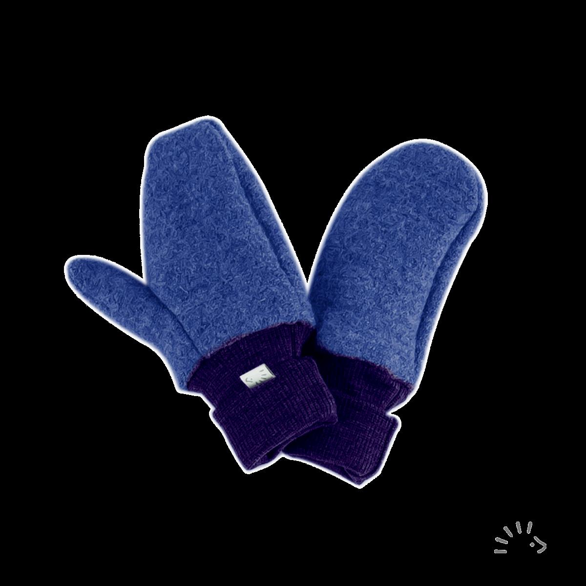 Mănuși pentru copii din lână merinos organică boiled wool indigo Iobio Popolini