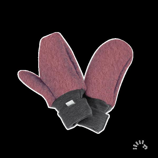 Mănuși pentru copii din lână merinos organică boiled wool pink Iobio Popolini