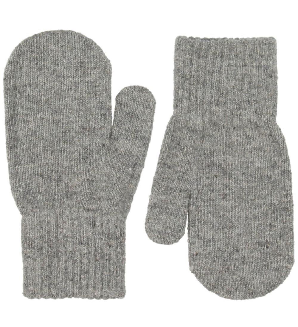 Mănuși pentru bebeluşi din lână tricotată grey CeLaVi