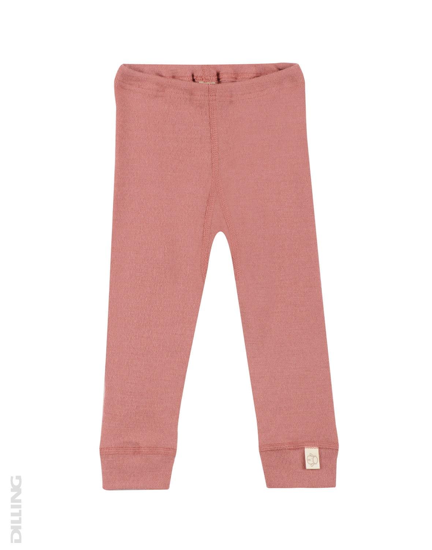 Pantaloni colanţi dark pink din lână merinos organică pentru bebeluşi Dilling