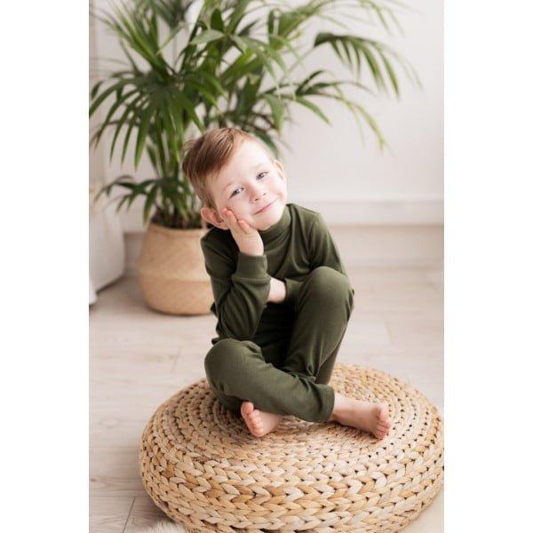 Pantaloni colanţi din lână merinos organică pentru copii dark green Green Rose 2
