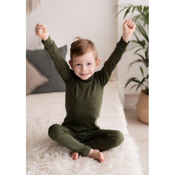 Pantaloni colanţi din lână merinos organică pentru copii dark green Green Rose 3