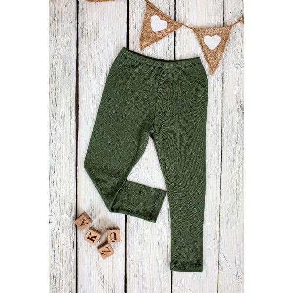 Pantaloni colanţi din lână merinos organică pentru copii dark green Green Rose