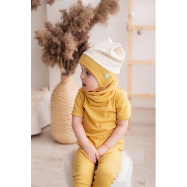 Pantaloni colanţi din lână merinos organică pentru copii yellow Green Rose 3