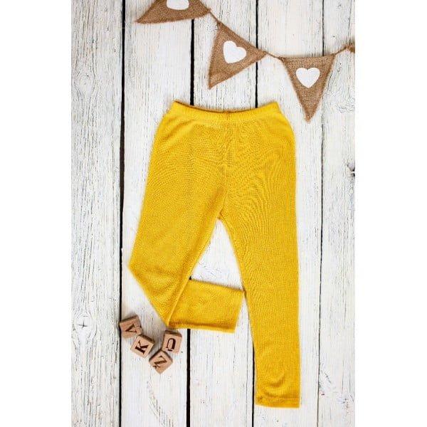 Pantaloni colanţi din lână merinos organică pentru copii yellow Green Rose