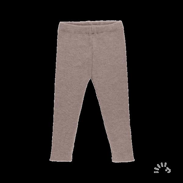 Pantaloni colanţi pentru copii din lână merinos organică tricotată beige melange Iobio Popolini
