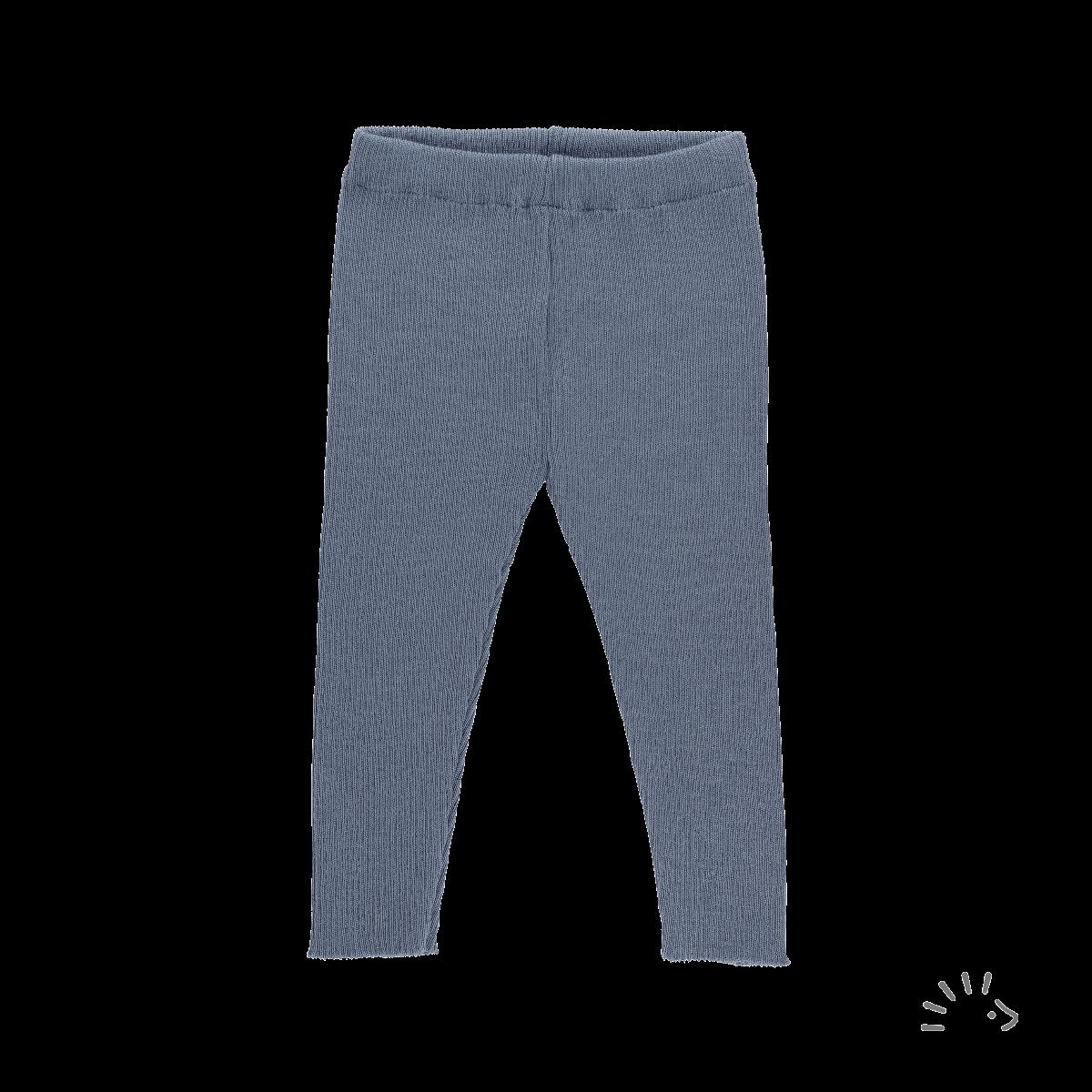Pantaloni colanţi pentru copii din lână merinos organică tricotată gray blue Iobio Popolini