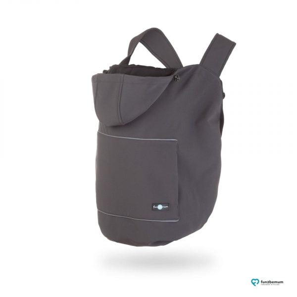 Protecție babywearing all season din softshell cu glugă graphite Fun2BeMum