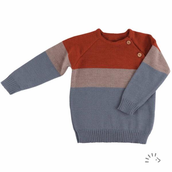 Pulover din lână merinos organică tricotată rusty orange Iobio Popolini