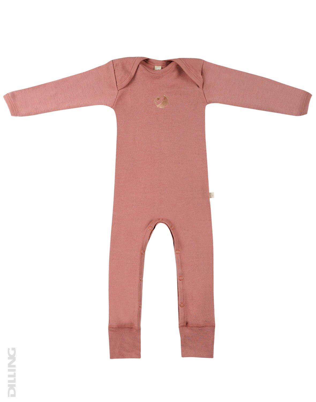 Salopetă – pijama overall dark pink din lână merinos organică rib pentru bebeluși Dilling