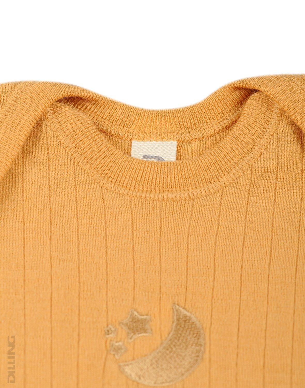 Salopetă – pijama overall yellow din lână merinos organică rib pentru bebeluși Dilling 2