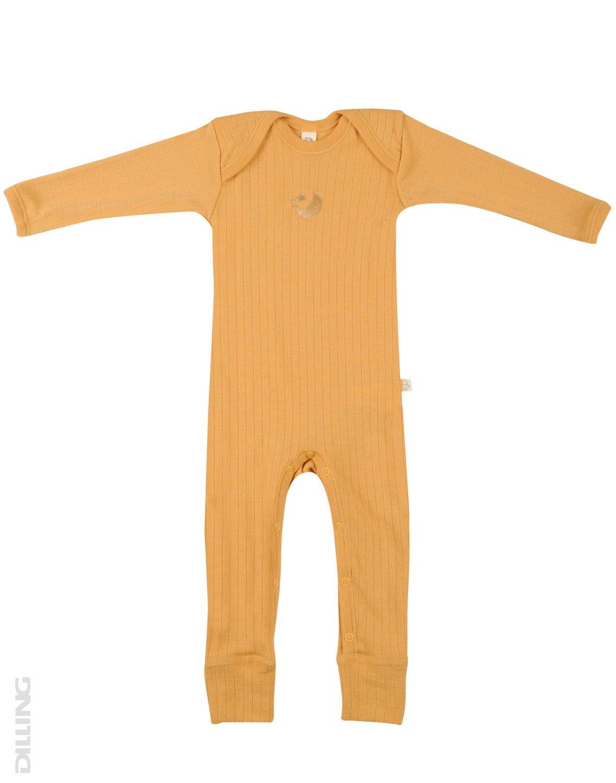 Salopetă – pijama overall yellow din lână merinos organică rib pentru bebeluși Dilling