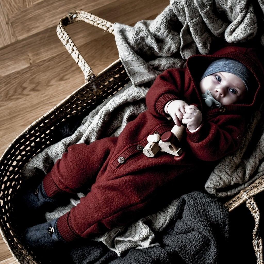 Salopetă - overall cu glugă din lână merinos fleece Mikk-line