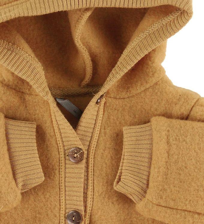 Salopetă - overall cu glugă din lână merinos fleece golden brown Mikk-line 2