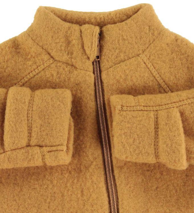 Salopetă - overall din lână merinos fleece gold brown Mikk-line 4
