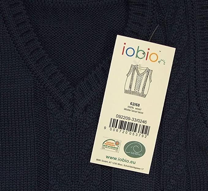 Vestă pentru copii din lână merinos organică tricotată dark blue Iobio Popolini 2