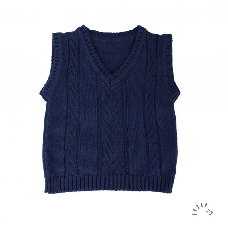 Vestă pentru copii din lână merinos organică tricotată dark blue Iobio Popolini