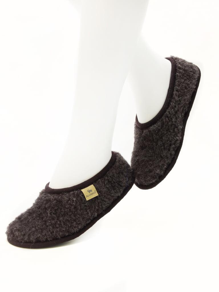 Papuci de casă lână cu talpă aniderapantă black Ballerinas Alwero