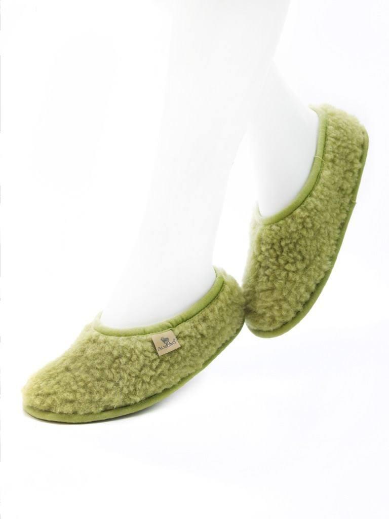 Papuci de casă lână cu talpă aniderapantă green pea Ballerinas Junior Alwero