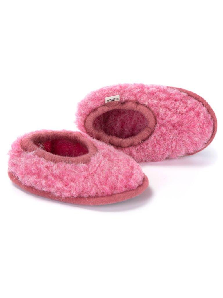 Papuci de casă lână cu talpă aniderapantă pink Ballerinas Junior Alwero