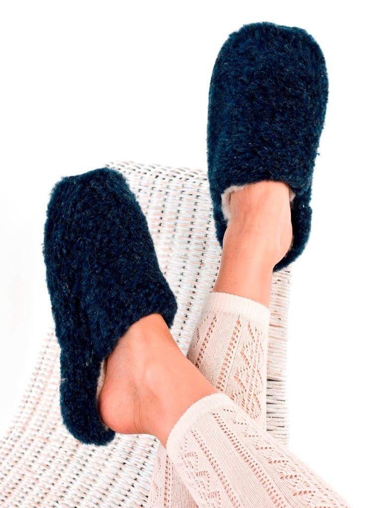 Papuci de casă lână cu talpă antiderapantă dark blue Comfy Alwero