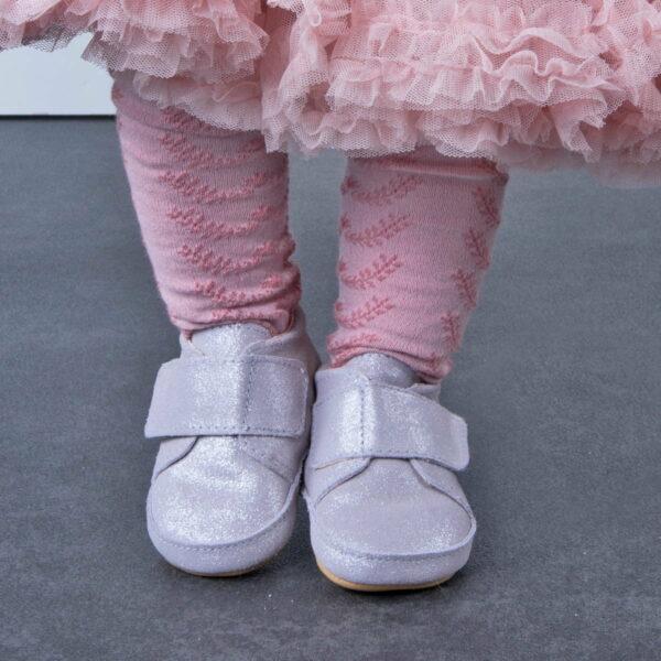 Pantofi barefoot din piele naturală pentru primii pași Silver Glitter Move By Melton