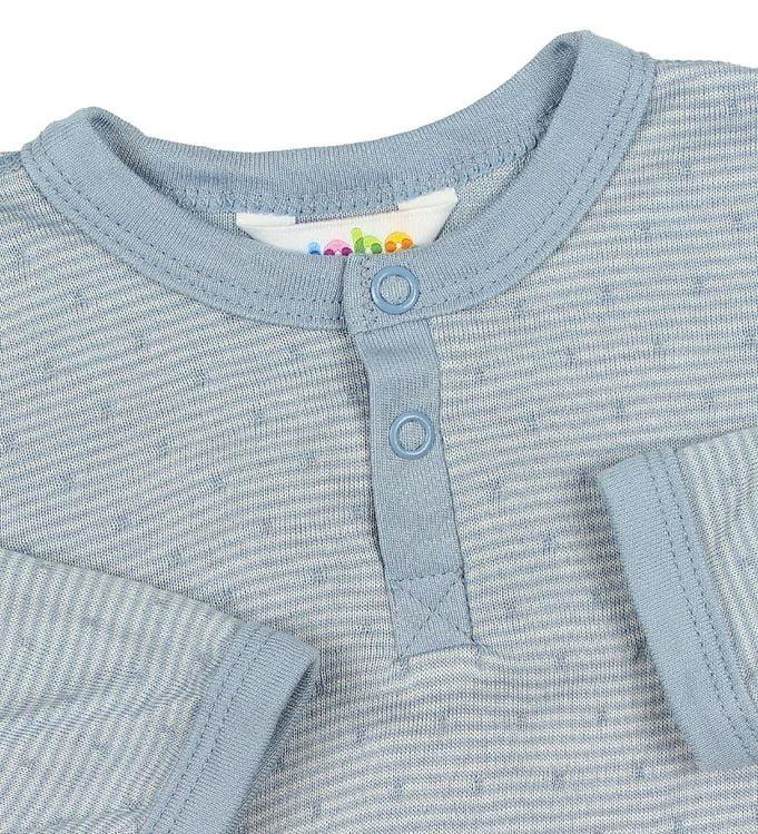 Bluză cu mânecă lungă din bambus Dusty Blue cu dungi albe Joha 2