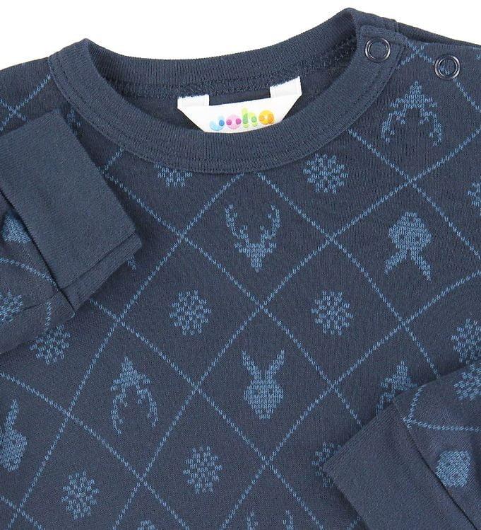 Bluză cu mânecă lungă din bambus Navy cu print Joha 2