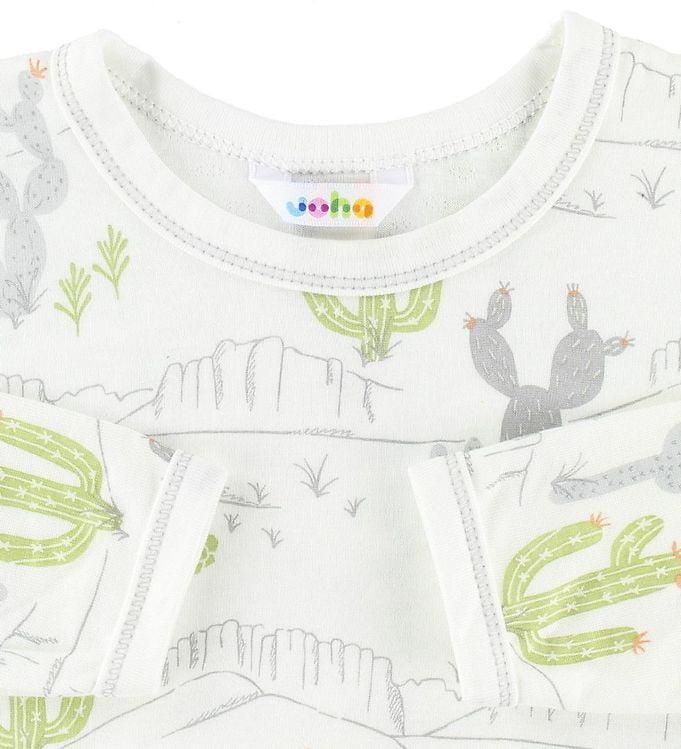 Bluză cu mânecă lungă din bambus ivory cu imprimeu cactus și munți Joha 2