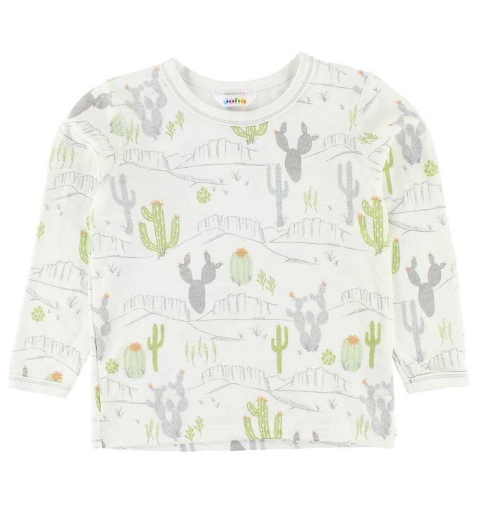 Bluză cu mânecă lungă din bambus ivory cu imprimeu cactus și munți Joha