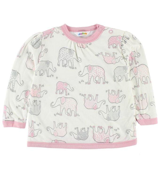Bluză cu mânecă lungă din bambus ivory-rose cu imprimeu elefanți Joha
