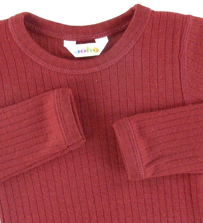 Bluză cu mânecă lungă din lână merinos rib Red Joha 2