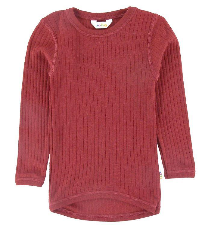 Bluză cu mânecă lungă din lână merinos rib Red Joha