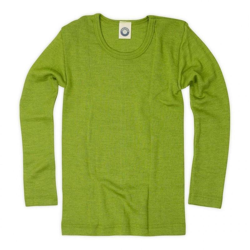 Bluză cu mânecă lungă din lână merinos şi mătase organică Green Cosilana