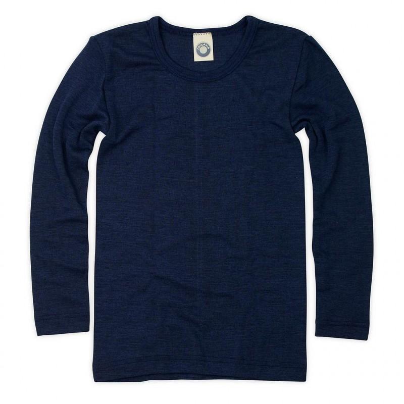Bluză cu mânecă lungă din lână merinos şi mătase organică Marine Cosilana