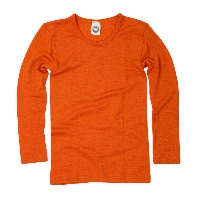 Bluză cu mânecă lungă din lână merinos şi mătase organică Orange Cosilana