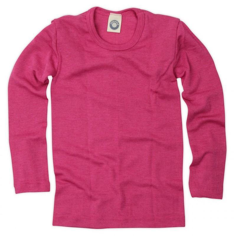 Bluză cu mânecă lungă din lână merinos şi mătase organică Pink Cosilana