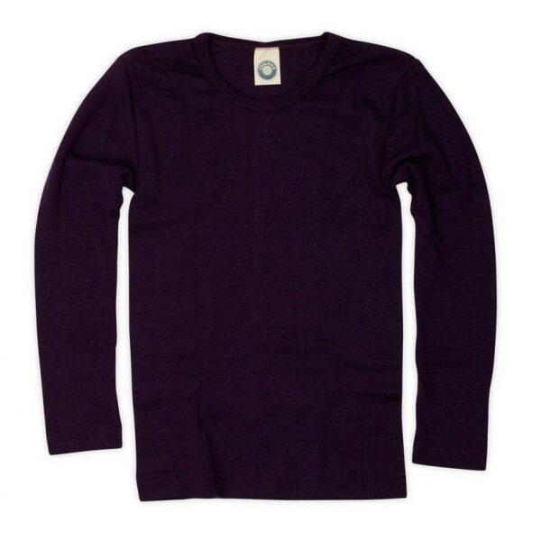 Bluză cu mânecă lungă din lână merinos şi mătase organică Plum Cosilana