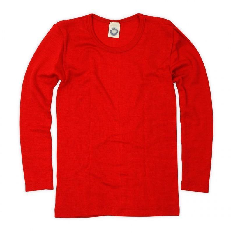 Bluză cu mânecă lungă din lână merinos şi mătase organică Red Cosilana