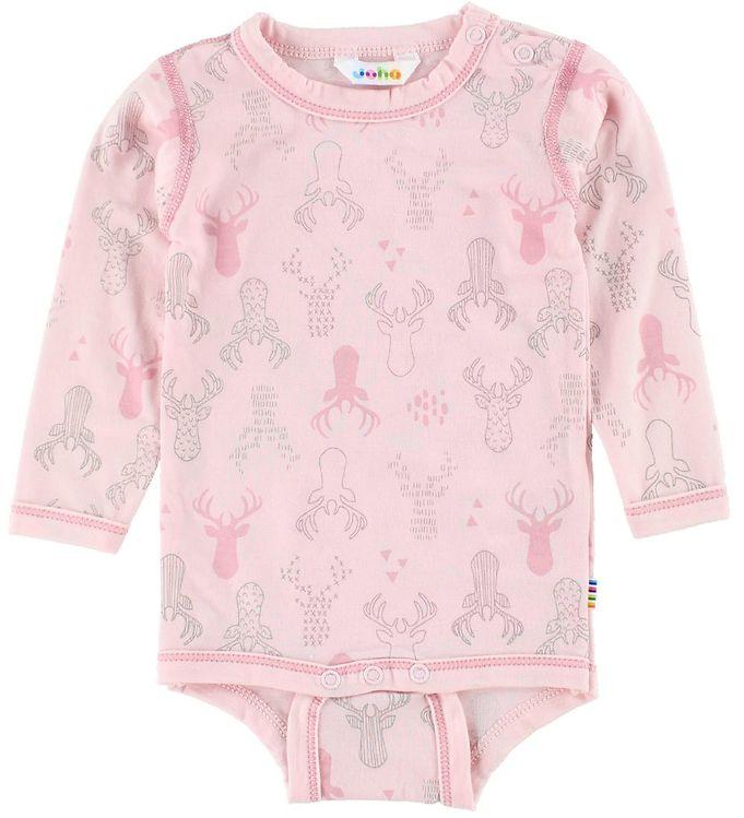 Body cu mânecă lungă din lână merinos Pink Reindeer Joha