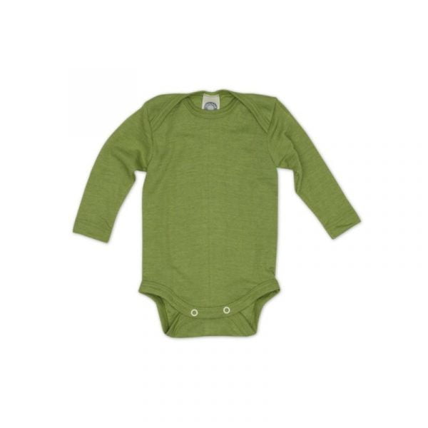 Body cu mânecă lungă din lână merinos şi mătase organică Green Cosilana