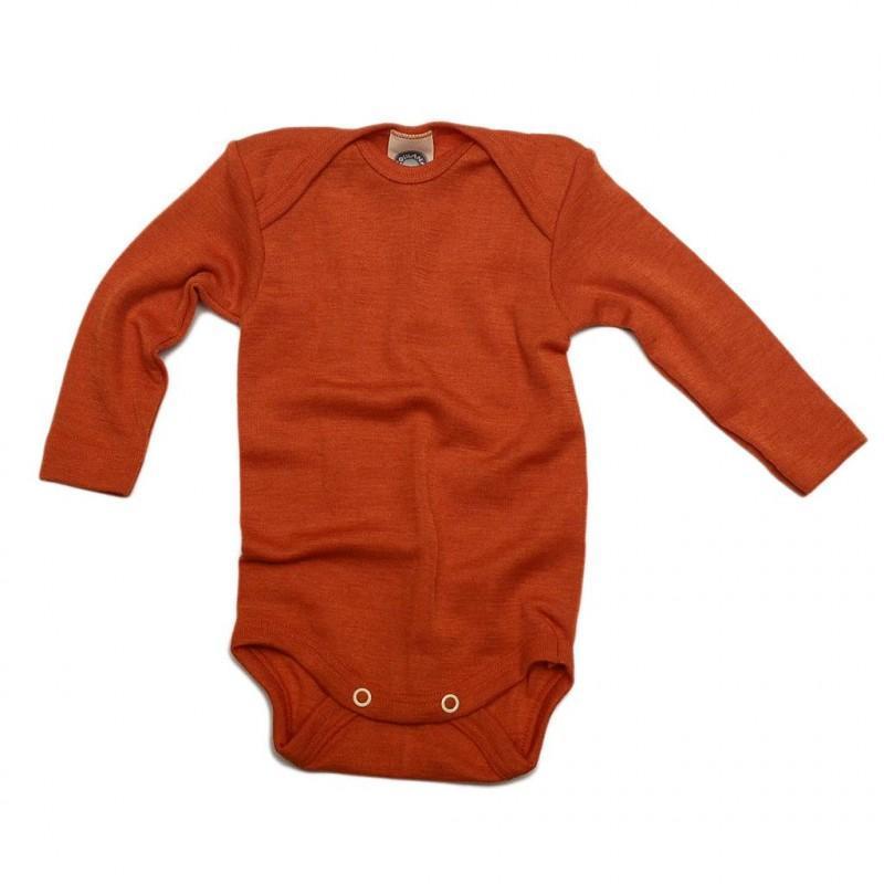 Body cu mânecă lungă din lână merinos şi mătase organică Orange Cosilana