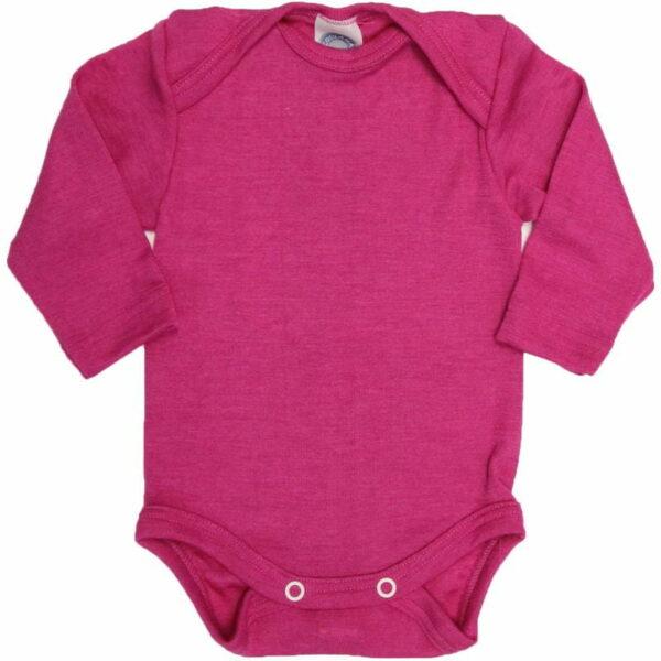 Body cu mânecă lungă din lână merinos şi mătase organică Pink Cosilana
