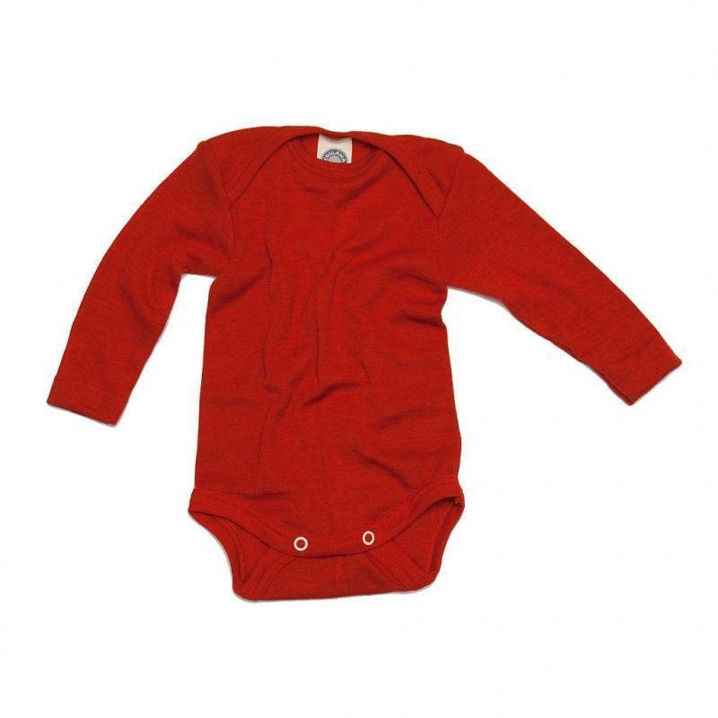 Body cu mânecă lungă din lână merinos şi mătase organică Red Cosilana