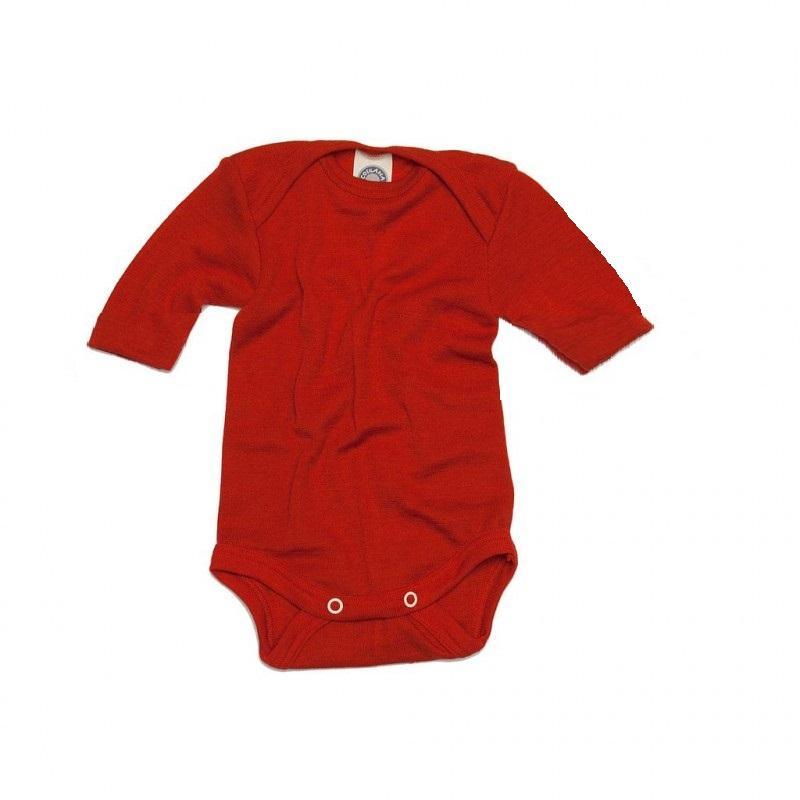 Body cu mânecă scurtă din lână merinos şi mătase organică Red Cosilana