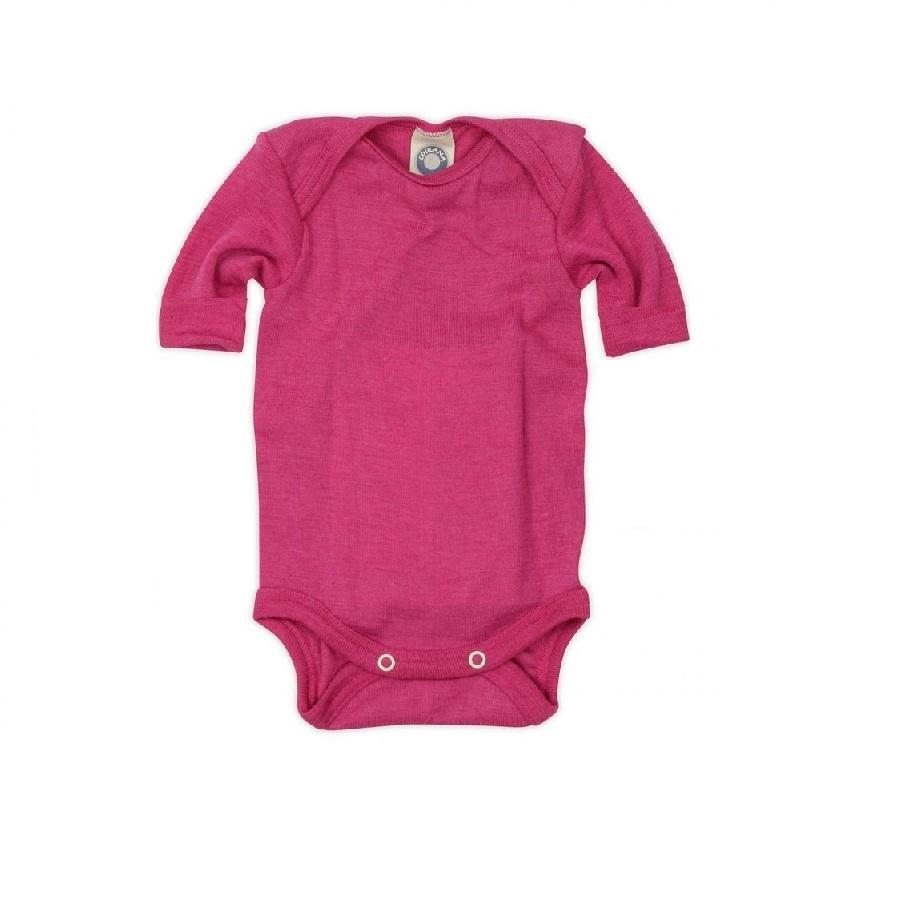 Body cu mânecă scurtă din lână merinos şi mătase organică Pink Cosilana