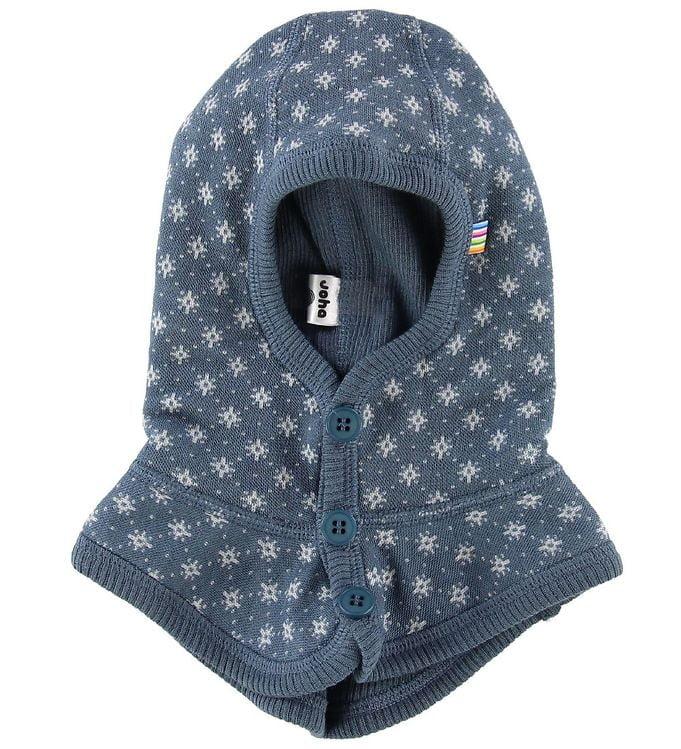 Cagulă dublată din lână merinos brushed wool Dark blue with pattern Joha
