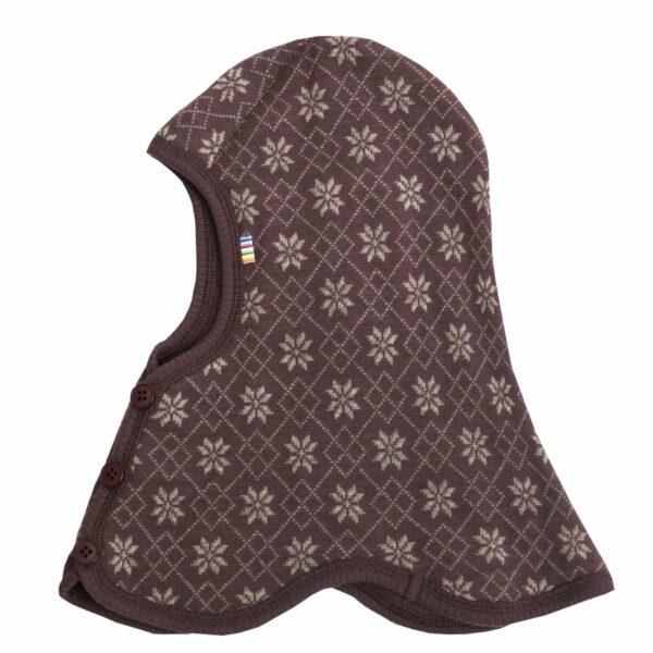 Cagulă dublată din lână merinos brushed wool Dark purple with pattern Joha