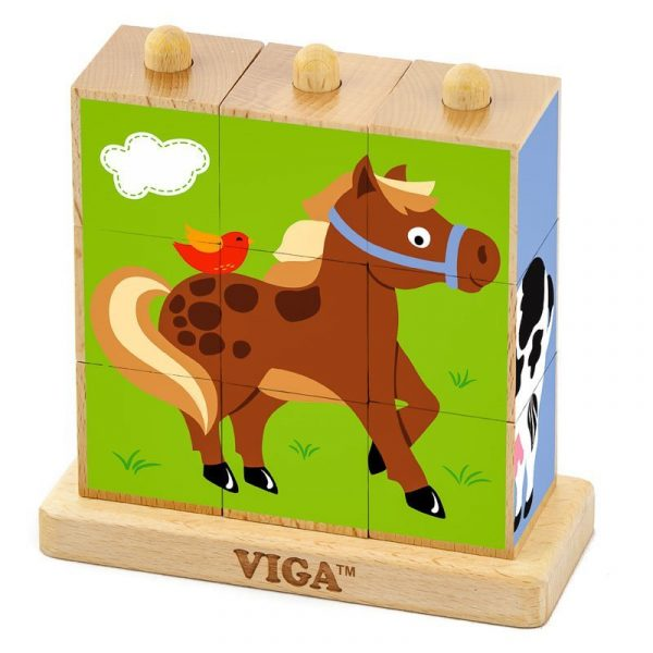 Cuburi montessori animale de fermă Viga