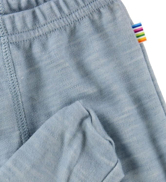 Pantaloni colanţi cu botoșei din lână merinos și bambus Light Blue Joha 2